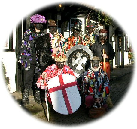 Group photograph of the Herga Mummers outside the Queen's Head, Pinner